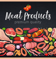 seamless border gastronomic meat products vector image vector image