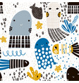 seamless pattern with sea animal jelly fish fish vector image