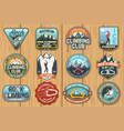 set of rock climbing club badges on the wood board vector image vector image