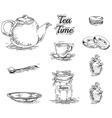 Set of tea elements vector image