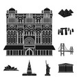 sights of different countries black icons in set vector image vector image