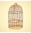 Sketch bird cage in vintage style