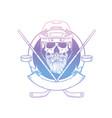 sketch color skull with dark hockey vector image vector image