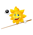 smiling sun is playing billiards vector image