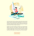 summer time woman windsurfing vacation web text vector image vector image