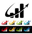 Swoosh Bar Chart Logo Icons vector image