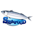 Tuna and seafood sign vector image