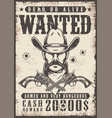 vintage wanted wild west poster vector image vector image