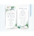 wedding program card floral template dusty blue vector image vector image