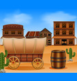 western town with wooden wagon vector image vector image