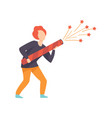 young man starting a big fireworks rocket people vector image vector image