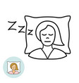 young woman sleeping on a pillow line icon girl vector image