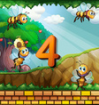 Number four with 4 bees flying in garden vector image