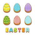 colored biskvit cookies eggs happy easter vector image