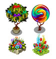 a set bright ornate plants and flowers isolated vector image