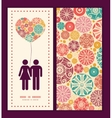 abstract decorative circles couple in love vector image vector image
