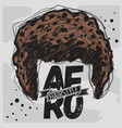 afro hairstyle curly bulk hair hand drawn sketchy vector image