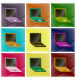 assembly flat shading style icons laptop vector image vector image