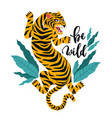 be wild tiger with tropical vector image vector image