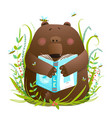 bear cub reading book cute cartoon vector image vector image