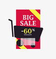 big sale 60 percent discount barcode and shopping vector image
