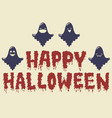 cartoon ghosts happy halloween emoji candles card vector image