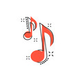 cartoon music note icon in comic style sound vector image