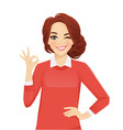 casual business woman gesturing ok vector image vector image