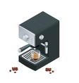 Coffee machine makes two coffee with coffee beans vector image