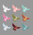 Color pigeons Set of colorful flying birds Dove vector image vector image