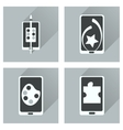 Concept of flat icons with long shadow mobile vector image vector image