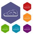 cumulus cloud icons set hexagon vector image vector image