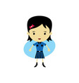 cute happy little woman - adorable girl cartoon vector image