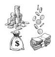 finance money set sketch stack coins vector image vector image