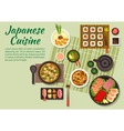 Fish dishes of japanese cuisine vector image vector image