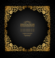 Florish antique vintage frame black and gold vector image vector image