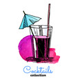 hand drawn cocktail and watercolor vector image vector image