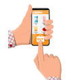 hand holding smartphone with food shopping app vector image