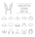 hats set icons in outline style big collection of vector image vector image