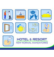 hotel resort new rules poster or public health vector image