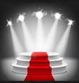 Illuminated stage podium red carpet award ceremony vector image vector image