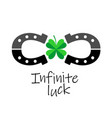 infinity luck symbol two horseshoes with four vector image vector image
