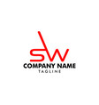 initial letter sw logo template design vector image vector image