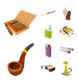 isolated object tobacco and habit logo vector image vector image