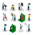 isometric movie crew shooting collection vector image
