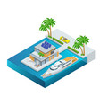 luxury tropical hotel resort with palm tree vector image vector image