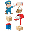 Mail carrier with bag and letter vector image