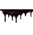 melted dark chocolate dripping isolated on white vector image