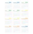 mockup simple calendar layout for 2020 year week vector image vector image
