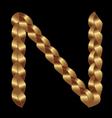 N gold string letter vector image